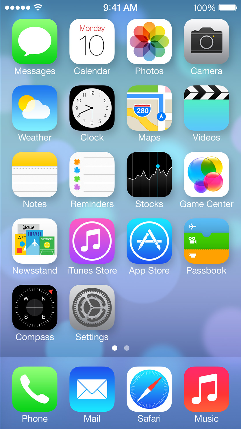 iOS 7 home screen on iPhone 5