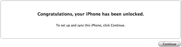 iPhone unlocked message in iTunes