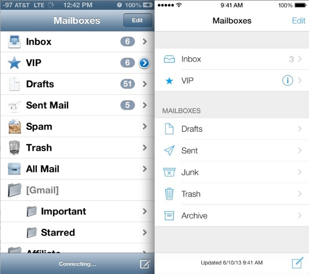 Mail in iOS 6 vs iOS 7