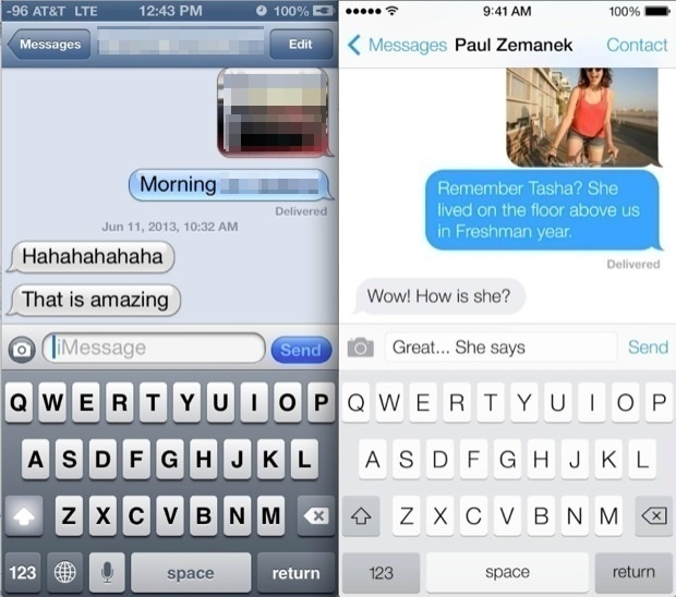Messages in iOS 6 vs iOS 7