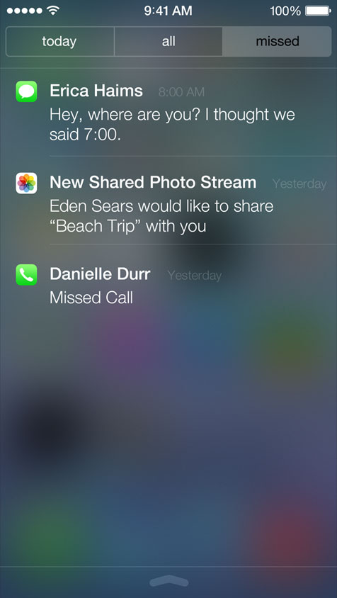 Notifications in iOS 7