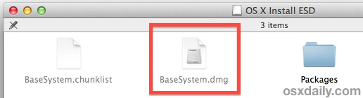 OS X Mavericks basesystem.dmg visibile