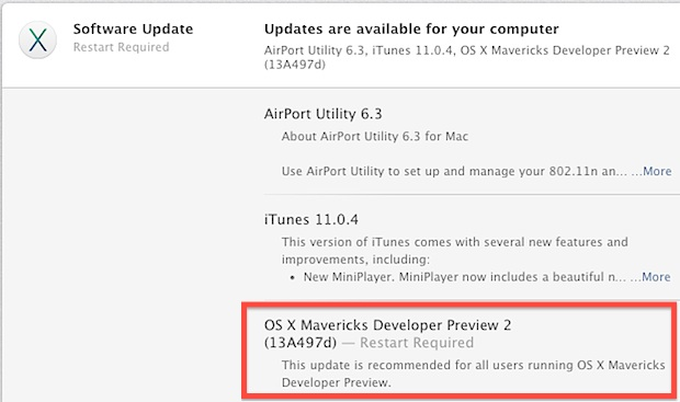 OS X Mavericks Developer Preview 2