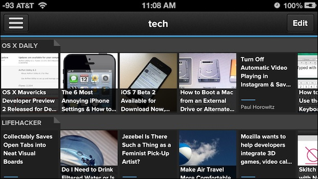 Pulse RSS reader for iPhone
