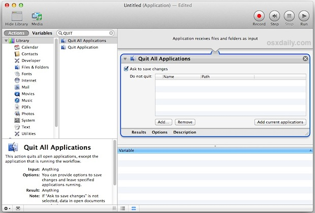 Quit All Applications in Automator