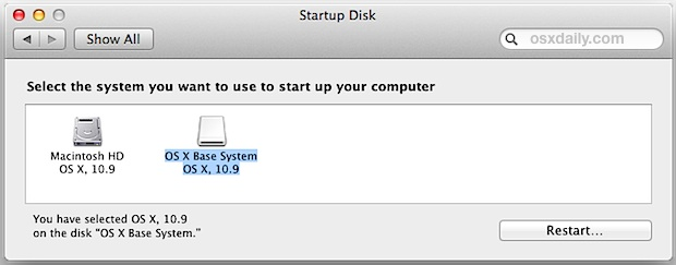 Select Startup Disk in Mac OS X System Preferences