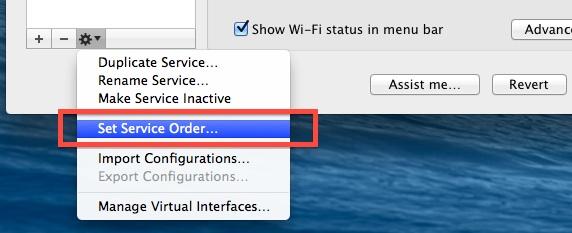 Set Network Service Order