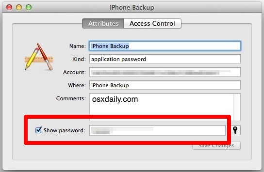 Show the lost password for encrypted iPhone backup