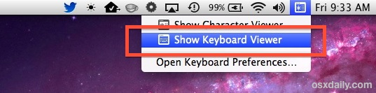 Show the virtual keyboard on a Mac