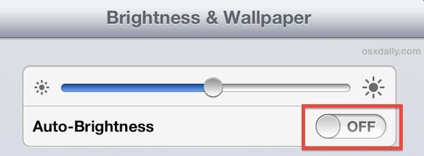 Turn off auto brightness adjustments on the iPad