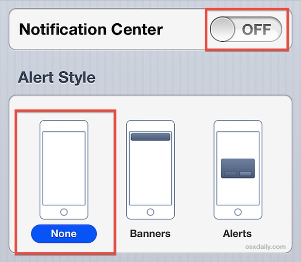 Turn off Notifications and alerts on the iPhone