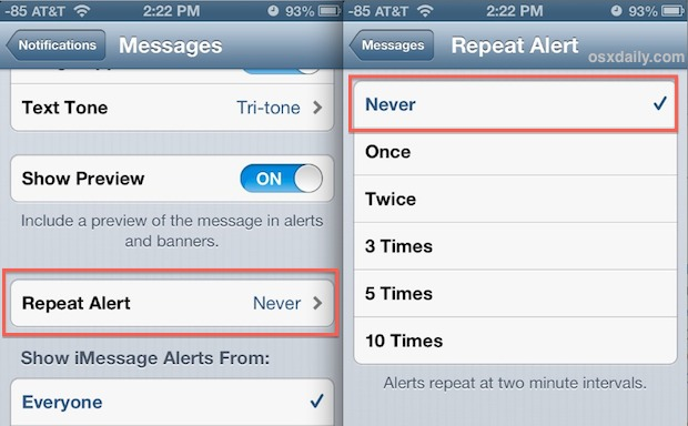 Turn off repeating text message alerts on iPhone