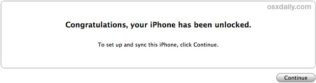 The familiar unlock message in iTunes
