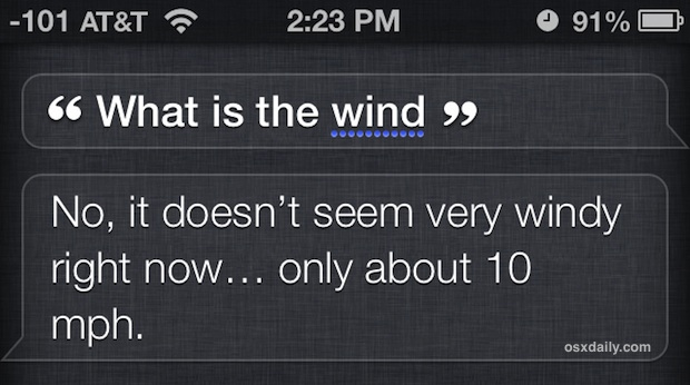 Get the wind speed from Siri