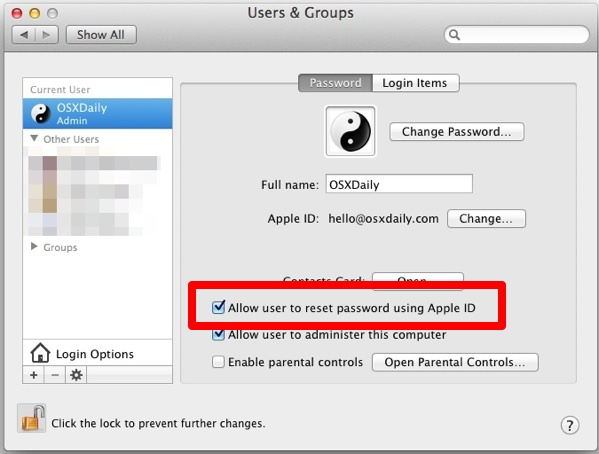 Allow Apple ID password resets