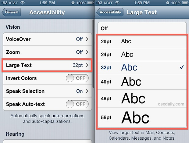 Change email font size in Mail app for iOS