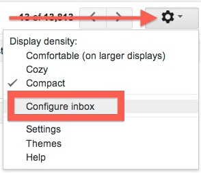 Configure Gmail inbox settings
