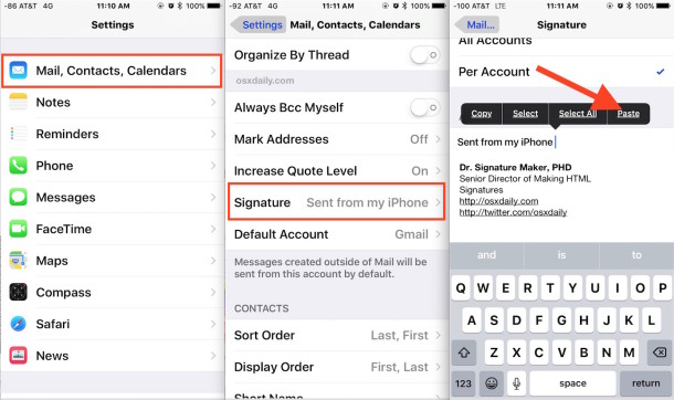 Create and use an HTML email signature on iPhone