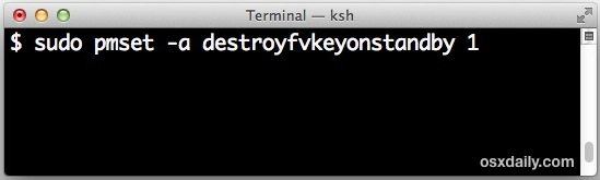 Set Filevault to destroy the key in standby mode