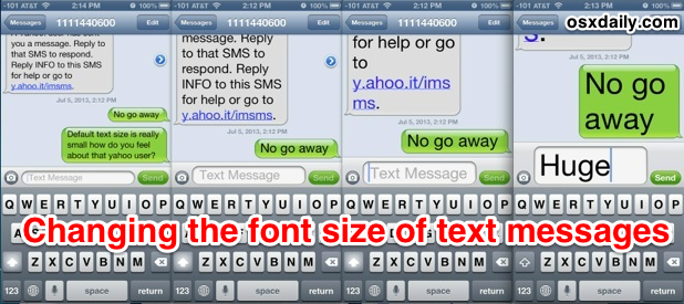 Changing between different font sizes shown in Messages on the iPhone