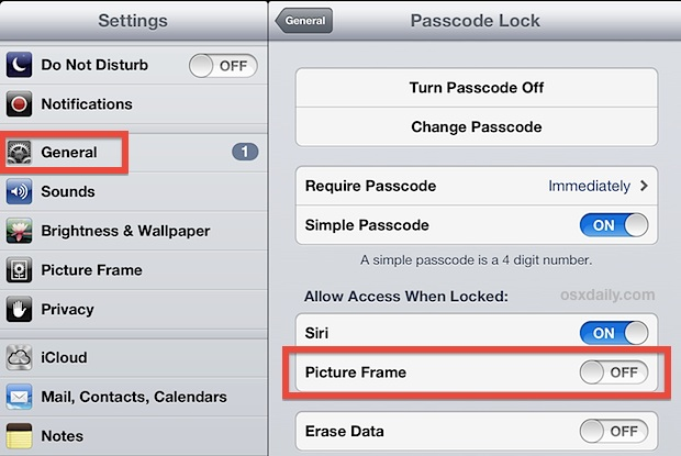 Disable the Picture Frame on the iPad