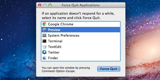 The force quit window in OS X