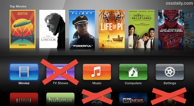 Hide app icons on the Apple TV