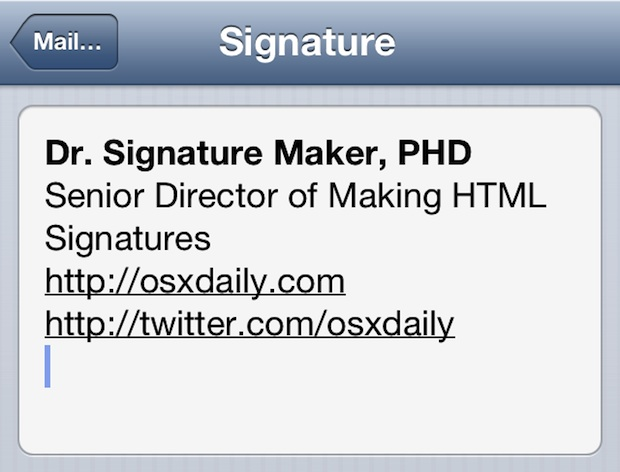 HTML Signature in iOS Mail app