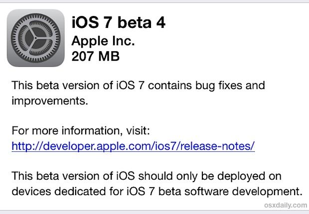 iOS 7 beta 4 download through OTA