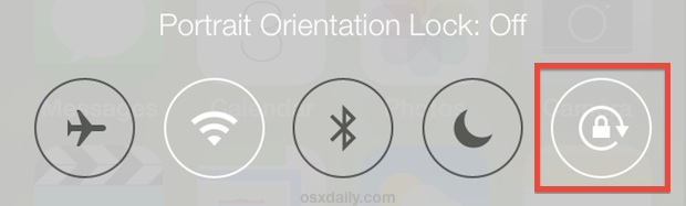 Orientation lock in iOS Control Center