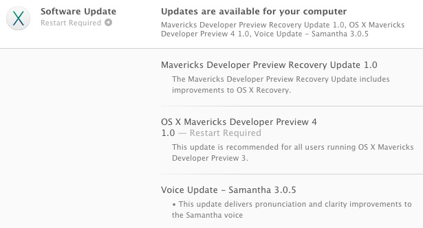 OS X Mavericks Developer Preview 4 update available