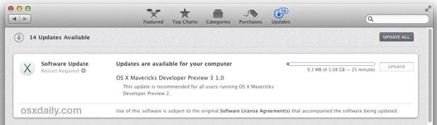 OS X Mavericks Developer Preview 3 downloading from App Store