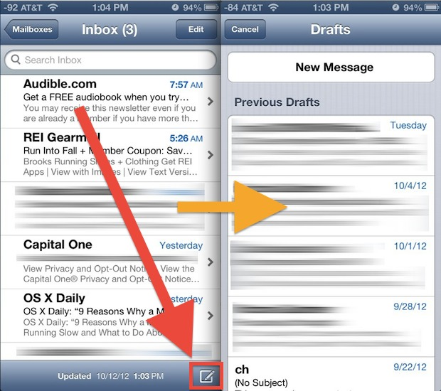 Quickly open drafts folder on the Mail app in iOS