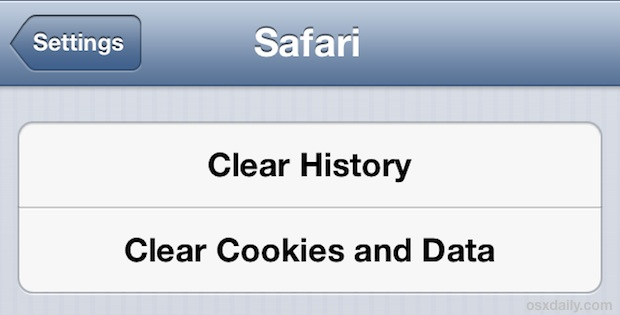 Clear Safari caches in iOS