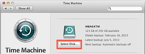 Select the new Time machine disk