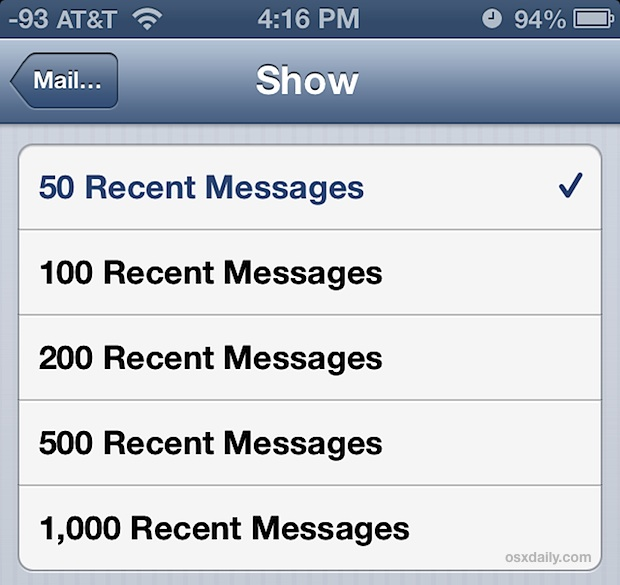 Show more emails in Mail Inbox of iPhone and iPad