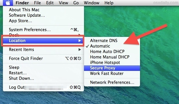 Switch Network Locations quickly in Mac OS X from the menu bar