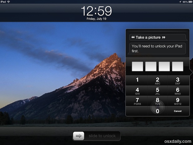 Take a picture from the Lock Screen on the iPad