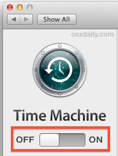 Turn off Time Machine temporariliy