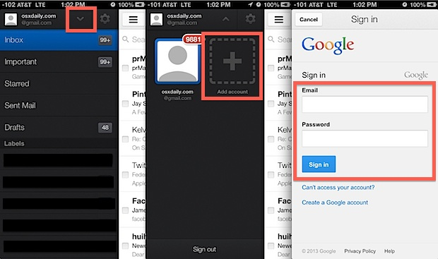 Add multiple Gmail accounts to iPhone / iPad with Gmail app for iOS