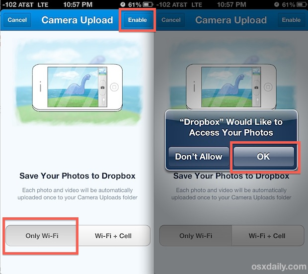 Back up iPhone photos to Dropbox automatically