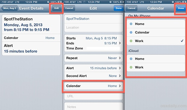Change an events Calendar on the iPhone, iPad, and iPod touch