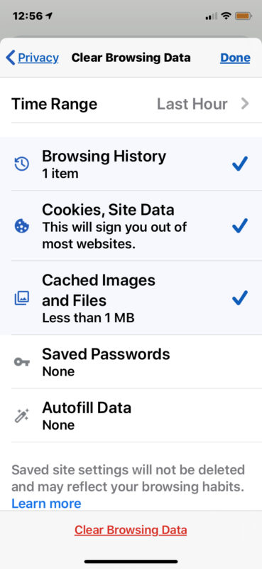 How to clear Chrome cache web data cookies and browser history on iPhone and Ipad