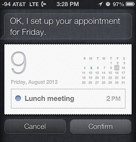 Create appointments with Siri