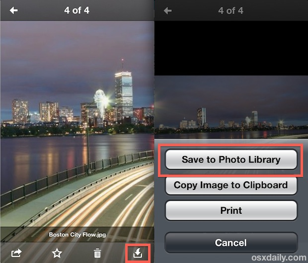 Download a photo from Dropbox back to iPhone