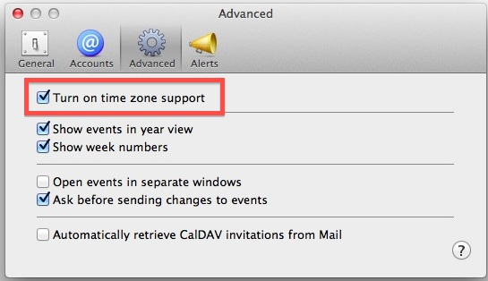 Enable Time Zones in Calendar for Mac OS X