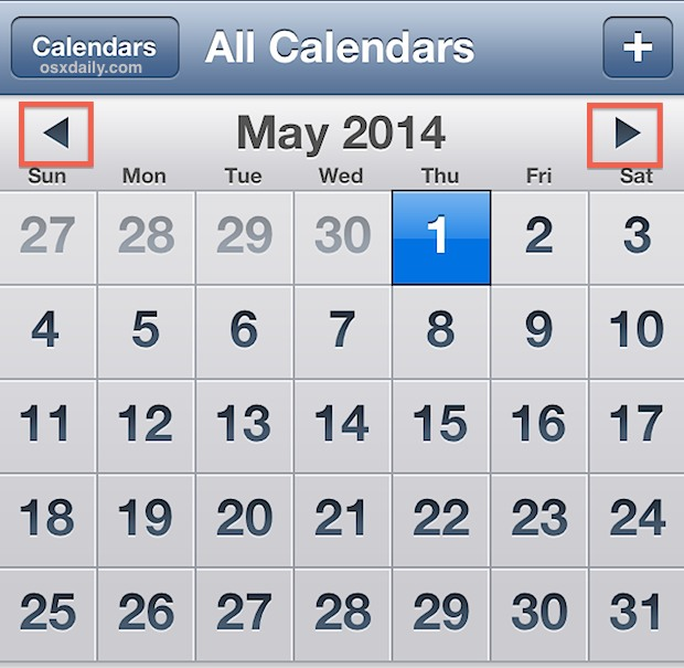 Fast navigate Calendars by tapping and holding