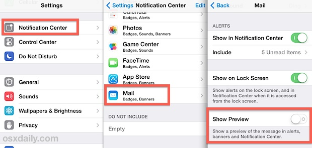 Hide email previews from the lock screen of iPhone, iPad, iPod touch