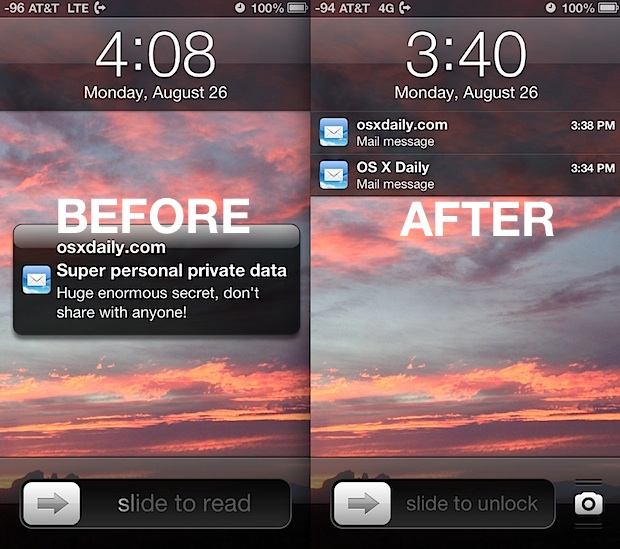 Hiding Mail previews from the iOS Lock Screen