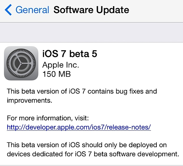 iOS 7 beta 5 downloading as OTA